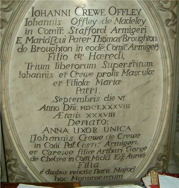 Offley Memorial, All Saints' Madeley - Photo © Andy Fear December 2004